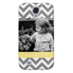 Gray and Yellow Zigzags Personalized Photo Samsung Galaxy S4 Cases