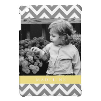 Gray and Yellow Zigzags Personalized Photo Cover For The iPad Mini