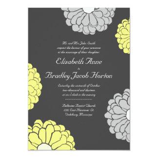 Gray and Yellow Zinnia Flower Wedding Invitation