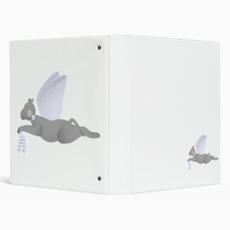 Gray Angel Cat With Blue Wings Binder