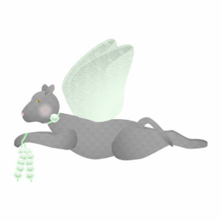 Gray Angel Cat With Green Wings Photo Sculpture Ornament