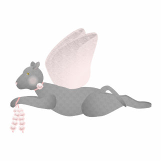 Gray Angel Cat With Pink Wings Photo Sculpture Ornament
