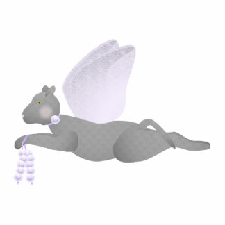 Gray Angel Cat With Purple Wings Photo Sculpture Ornament
