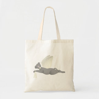 Gray Angel Cat With Yellow Wings Canvas Bags