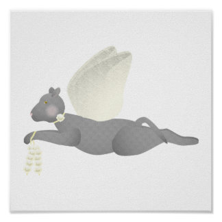 Gray Angel Cat With Yellow Wings Poster