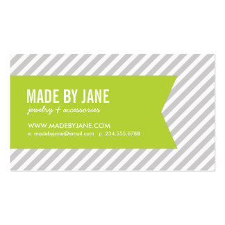 Gray & Apple Green Modern Stripes & Ribbon Business Card