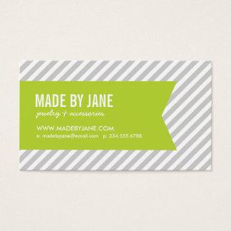 Gray & Apple Green Modern Stripes & Ribbon Business Card