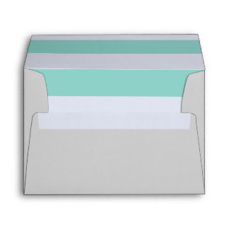 Gray & Aqua 5 x 7 Pre-Addressed Envelopes