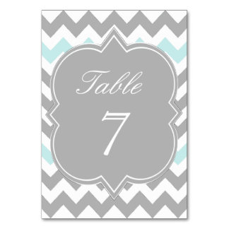 Gray Aqua Chevron Table Number Card Table Cards