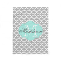 Gray Aqua Elegant Pattern Monogram Fleece Blanket