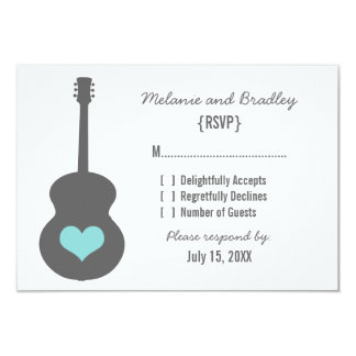 Gray/Aqua Guitar Heart Response Card