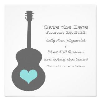 Gray Aqua Guitar Heart Save the Date Invite