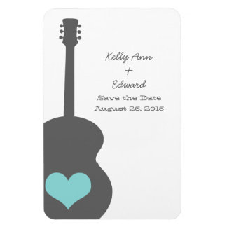 Gray/Aqua Guitar Heart Save the Date Magnet
