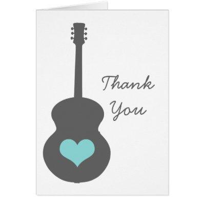 Gray/Aqua Guitar Heart Thank You Card