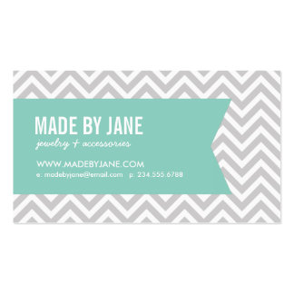 Gray & Aqua Modern Chevron & Ribbon Double-Sided Standard Business Cards (Pack Of 100)