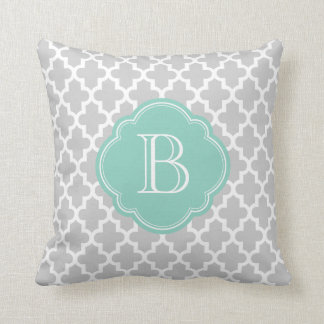 Gray & Aqua Modern Moroccan Custom Monogram Throw Pillows