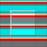 [ Thumbnail: Gray, Aqua, Tan & Red Colored Stripes Fabric ]