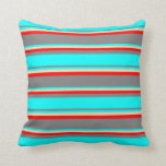 [ Thumbnail: Gray, Aqua, Tan & Red Colored Stripes Throw Pillow ]