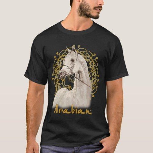 Gray Arabian horse dark tee shirt