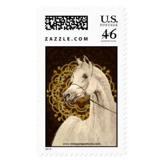 Gray Arabian horse large postage stamp