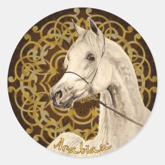 Gray Arabian horse round sticker