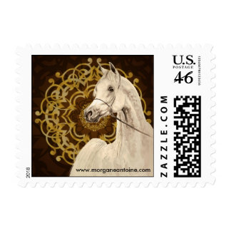 Gray Arabian horse small postage stamp