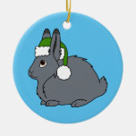 Gray Arctic Hare with Christmas Green Santa Hat Ceramic Ornament