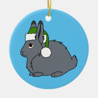 Gray Arctic Hare with Christmas Green Santa Hat Ceramic Ornament