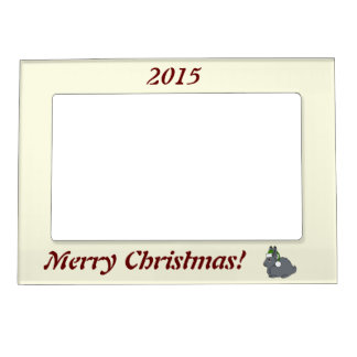 Gray Arctic Hare with Christmas Green Santa Hat Magnetic Picture Frame