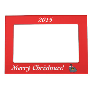 Gray Arctic Hare with Santa Hat & Gold Bell Photo Frame Magnet