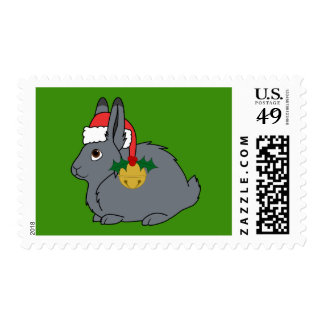 Gray Arctic Hare with Santa Hat & Gold Bell Postage