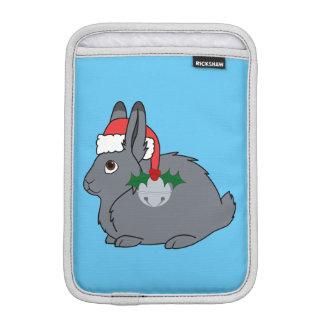 Gray Arctic Hare with Santa Hat & Silver Bell iPad Mini Sleeve