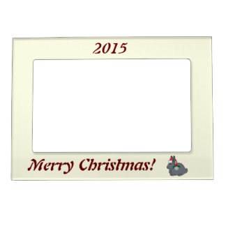 Gray Arctic Hare with Santa Hat & Silver Bell Photo Frame Magnets
