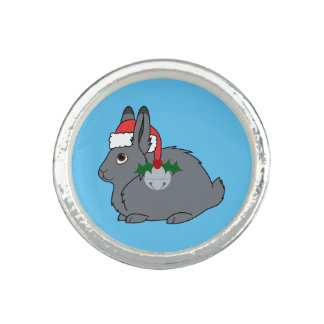 Gray Arctic Hare with Santa Hat & Silver Bell Photo Ring