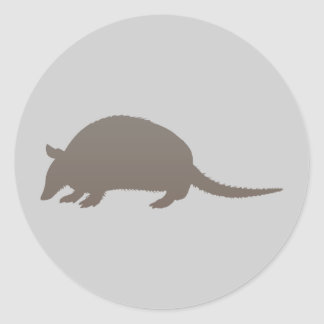 Gray Armadillo Classic Round Sticker