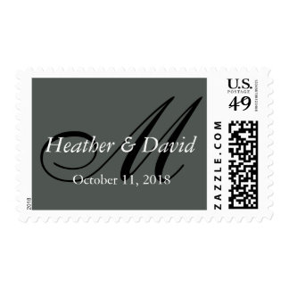Gray Attractive Charming Monogram Wedding Postage