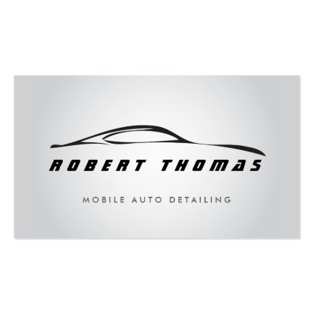 Fluid Sportscar on White and Gray Background Auto Detailing Business Cards