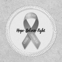 Gray Awareness Ribbon Add Your Custom Text Patch