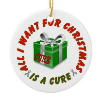 Gray Awareness Ribbon Cure Logo Christmas Ornament