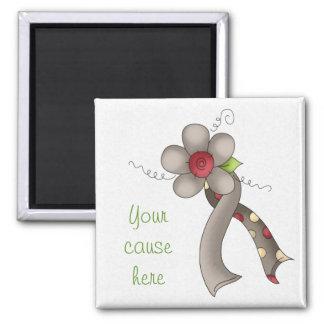 Gray Awareness Ribbon & Flower Fridge Magnet