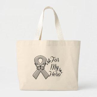 Gray Awareness Ribbon For My Hero Large Tote Bag