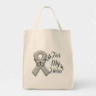 Gray Awareness Ribbon For My Hero Tote Bag
