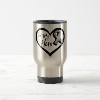 Gray Awareness Ribbon For My Hero Travel Mug