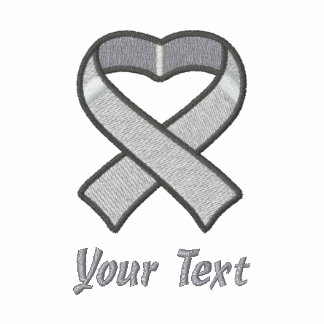 Gray Awareness Ribbon Shirt Embroidered Hoodie
