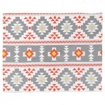 Aztec Themed Gray Aztec Custom Fleece Blanket, Large