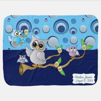 Gray & Baby Blue Baby Owl | Nursery Theme Receiving Blanket