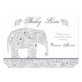 Gray Baby Elephant Shower Invitation