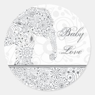Gray Baby Love Elephant Sticker