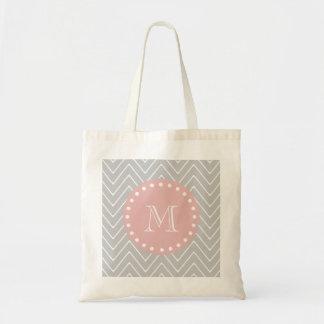 Gray & Baby Pink Modern Chevron Custom Monogram Bag