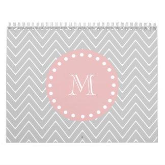 Gray Baby Pink Modern Chevron Custom Monogram Calendar